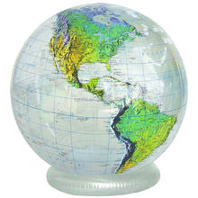 geography inflatable world globe with base,clear