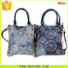Jean sling denim bags Casual blue denim jean tote bag for women metallic element bags