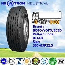 2015 china BOTO YOTO top brand BT668 front back new truck bus trailer tyre 385/65R22.5