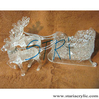 Clear Plastic Reinder and Sleigh,Christmas Clear Plastic Silver Decorated 2 Reindeer