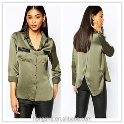 Latest ladies office shirt designs for women wrap military shirt with PU HSS7736