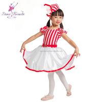 Red and white striped lycra Child ballet tutu, nice design girl ballet costumes