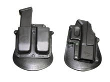 PoliceTactical Plastic Matte Finish Glock Belt Holster With Magazine pouch