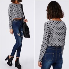 New Fashion OEM Crop Top Ladies Custom Dot Printed Long Sleeve Crop Tops