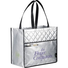 Popular Reusable Polypropylene Cloth Shopping Bags Large Silver Tote Bag