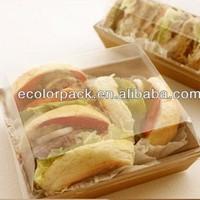 Greaseproof Kraft paper +Transparent plastic sandwich/hamburg box