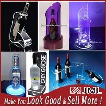 2015 Custom bottle glorifier , acrylic wine bottle holder , wine holder with led lights