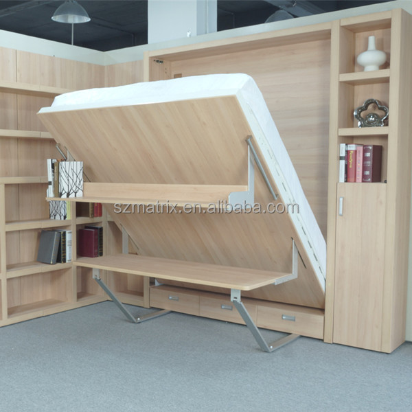 Murphy bed wall bed murphy wall bed with bookshelf and office table buy murphy bed wall bed - Bed tafel ...