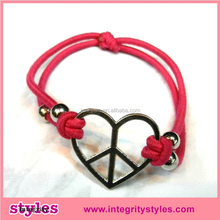 Fashionable Red Rope Heart Rubber Band For Bracelets