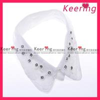 fashion keering white stand collar shirt rhinestone neckline patch for ladies WNL-1160