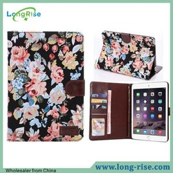 Fashion Flower Cloth Skin Book Style Magnetic Flip Leather Case for iPad Mini 3 with Card Holder and Photo Frame