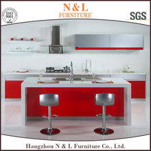 Red gloss vaccum form kitchen cabinet, modular kitchen cabinet color combinations