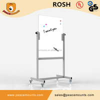GB03 Business used freestanding magnetic movable glossy surface clear office tempered glass writing whiteboard