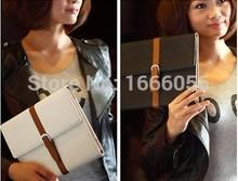 2015 Luxury leather case for ipad mini smart cover slim vintage books dormant belt holster protective sleeve