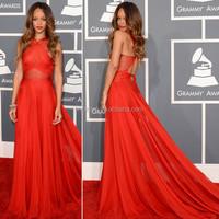 Red Chiffon Sleeveless Pleated Designer Floor Length Custom Make Long Celebrity Party Dress RD031 Red Carpet Dresses
