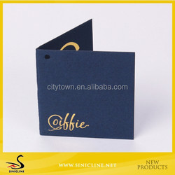 Sinicline Custom Folded Specialty Paper Hang Tag with Gold Stamping