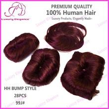 Fashion Bump Hair Style Short Brazilian Human Hair Weave Wine Color 99J