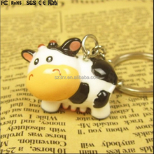 Custom cow keychain miniature character,Plastic animal cartoon keychain animal,cow shape 3d cartoon keychain