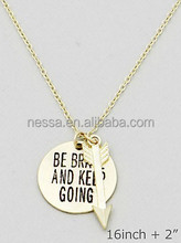 Fashion arrow necklace with BE BRAVE AND KEEP GOING letters NSNK-23058