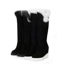 Latest new designer shoes handmade genuine leather women boots high heels winter fur long boots footwear