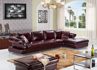 Wine Red Color Modern Style L-Shape Comfortable Leather Sofa With Foot Pedal