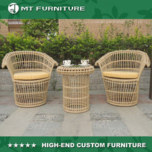 Cafe/Patio Outdoor Rattan Tea Table and Chairs Hand Woven Leisure Furniture Set
