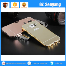 Luxury Metal Bumper Cover for Samsung Galaxy S6 Mirror Back Case Gold