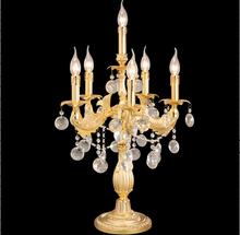 Gold finish crystal chandelier bedside table lamp