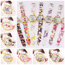 2015 New Arrive Flower Print Cool Summer Beautiful Geneva Silicon Lady Wrist Watch