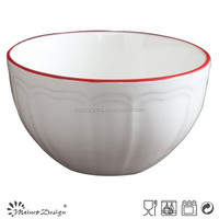 embossed fine porcelain bowl with red rim
