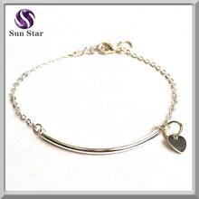 gracioso 925 pulseira de prata esterlina com coração pequeno pingente