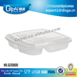 Eco-friendly 3-compartment disposable microwave pp food container
