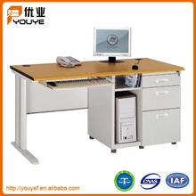 3 Drawer Metal Computer Desk With Computer Shelf
