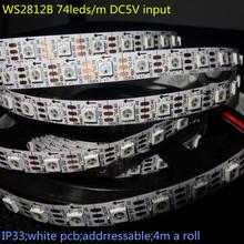 4m DC5V addressable WS2812B led pixel strip,non-waterproof,74pcs WS2812B/M with 74pixels;white PCB