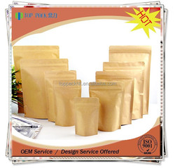 Factory Price Reclosable Stand up Brown Kraft Paper Bag for Food / Resealable Zipper Kraft Food Paper Bag