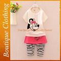 Recém-nascido vestido de zebra legging crianças conjuntos de roupas de bebê menina conjunto roupas de verão SFUBS-010