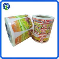 Food Grade Stickers Label, Printed Waterproof Roll Adhesive Labels