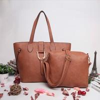 alibaba supplier fashion large leather handbag 2 in 1 women's leather handbags purses and handbags