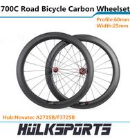 60mm Tubular road bike of carbon wheelset Full carbon bicycle wheelset of 25mm width for carbon bike