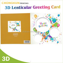Real factory lenticular printing medium size children/kid happy birthday greeting card
