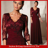 ME-046 Stunning v neck lace and chiffon mother of bride dress burgundy mother of the bride dress with sleeves lace