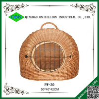 Large handle oval natural wicker dog basket