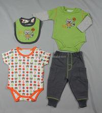 100%cotton baby sets/bib/creeper/pants/baby clothing sets/