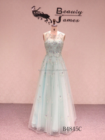 2015 Mint green color sleeveless net fabric beads decorated backless sexy evening dresses & wedding dresses