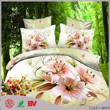 3D 100% cotton Lily flower bedding set for home/wedding use