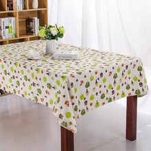 tessili per la casa tessuto di lino cartoon civetta stampato tovaglia