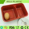 2 Compartments red bottom plastic lunch food box/container with clear lid