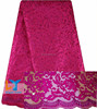 rose red color french women lace fabrics for ladies' bridal gown accessories fabric