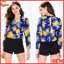Fashion online shopping clothing V neck blooms woman blouse 2015