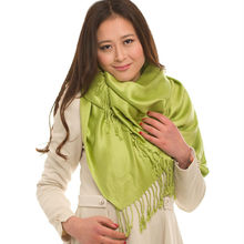 Women's woven plain colour tassels viscose high quality scarf chinese manufacturer